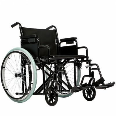 Инвалидное кресло-коляска Ortonica Base 125 повышенной грузоподъемности с увеличенной шириной сиденья.