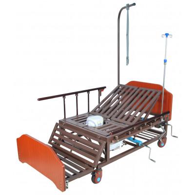 Кровать механическая Med-Mos Е-45А (ММ-5624Н-02) с боковым переворачиванием, туалетным устройством и функцией «кардиокресло»
