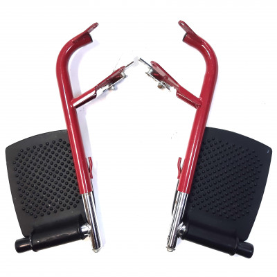 Подножка металлическая для инвалидной коляски бордовая